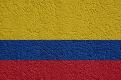 Colombia Politics Or Business Concept: Colombian Flag Wall With Plaster, Texture. Colombia Politics Or Business Concept: Colombian Flag Wall With Plaster royalty free stock photography