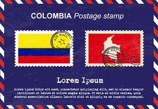 Colombia Postage stamp, vintage stamp, air mail envelope. Royalty Free Stock Photography