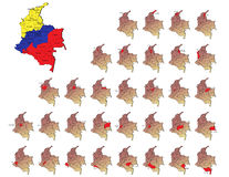 Colombia provinces maps Stock Image