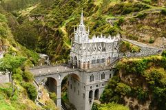 Colombia, Sanctuary of the Virgin of Las Lajas. Colombia, church of Las Lajas  built between 1916 and 1948 is a popular destination for religious believers from Royalty Free Stock Photo