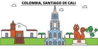 Colombia, Santiago De Cali-overzichtshorizon, Colombiaanse vlakke dunne lijnpictogrammen, oriëntatiepunten, illustraties Colombia stock illustratie