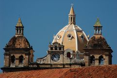Colombia sightseeing: Cartagena skyline. Beautiful domes of the historic buildings in Cartagena, Colombia, also known as the Pearl of the Caribbean Stock Photo