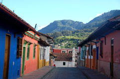 Colombia sightseeing: Cobblestone street Royalty Free Stock Image