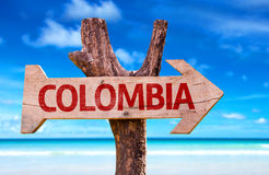 Colombia sign with a beach on background royalty free stock image