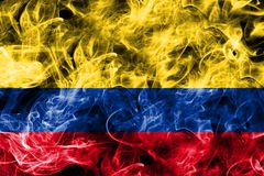 Colombia smoke flag isolated on a black background.  Royalty Free Stock Images