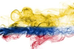 Colombia smoke flag. Isolated on a white background stock photography