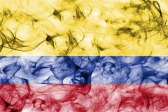 Colombia smoke flag isolated on a white background. Colombia smoke flag  isolated on a white background Royalty Free Stock Photography