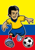 Colombia soccer player with flag background Stock Photos