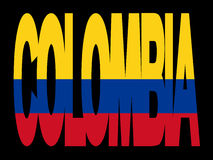 Colombia text with flag. Overlapping Colombia text with their flag illustration Royalty Free Stock Photo