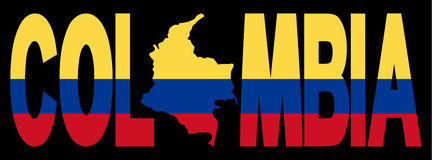 Colombia text with map Stock Photography