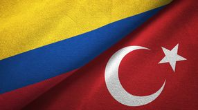 Colombia and Turkey two flags textile cloth, fabric texture vector illustration