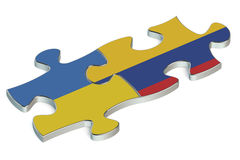 Colombia and Ukraine puzzles from flags Stock Photos