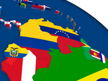 Colombia and Venezuela on 3D map with flags Stock Image
