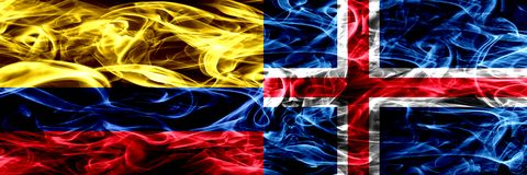 Colombia versus IJsland, Ijslandse zij aan zij geplaatste rookvlaggen Dik gekleurde zijdeachtige rookvlaggen van Columbiaans en I vector illustratie