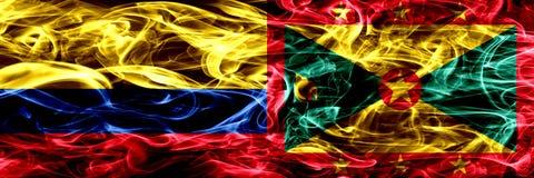 Colombia versus zij aan zij geplaatste de rookvlaggen van Grenada Dik gekleurde zijdeachtige rookvlaggen van Columbiaans en Grena royalty-vrije illustratie
