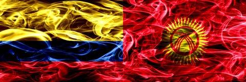 Colombia versus zij aan zij geplaatste de rookvlaggen van Kyrgyzstan Dik gekleurde zijdeachtige rookvlaggen van Columbiaans en Ky stock illustratie
