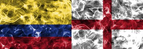 Colombia vs England smoke flag, quarter finals, football world cup 2018, Moscow, Russia.  royalty free stock photos