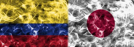 Colombia vs Japan smoke flag, group H, Fifa football world cup 2. 018, Moscow, Russia Stock Photo