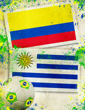 Colombia vs Uruguay soccer concept Stock Photo