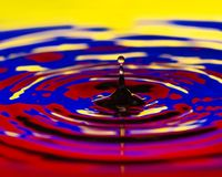 Colombia Water drip close macro flag of country. Colombia Water dripping or water ripples in a pond. waves of rippling flag of country royalty free stock images