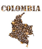 Colombia word and country map shaped with coffee beans background. Roasted brown coffee beans background with the shape of the word Colombia and the country Royalty Free Stock Image
