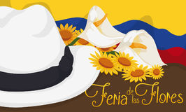 Colombian Arriero Hat, Flag and Floral Arrangement for Flowers Festival, Vector Illustration. Banner with traditional arriero hat decorated with calla lilies and Stock Image
