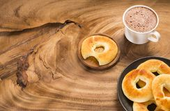 Colombian breakfast - Pandequeso traditional food - gluten - wheat flour and cheese. Text space. Colombian breakfast - Pandequeso traditional food - gluten stock image