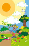 Colombian Caribbean peasant boy. Caricature of a naive peasant boy in the middle of a colorful landscape ecological Royalty Free Stock Images
