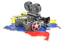 Colombian cinematography, film industry concept. 3D rendering. Isolated on white background Stock Photography