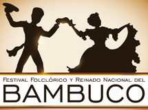 Colombian Couple Dancing Bambuco in Traditional Folkloric Festival, Vector Illustration Stock Photo