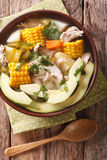 Colombian cuisine: ajiaco soup with chicken and vegetables close up Royalty Free Stock Photography