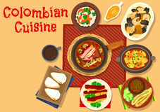 Colombian cuisine dinner dishes icon design Stock Images