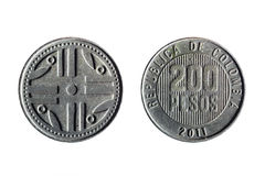 Colombian currency of 200 pesos Stock Image