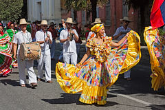 Colombian dancers and musicians Stock Images