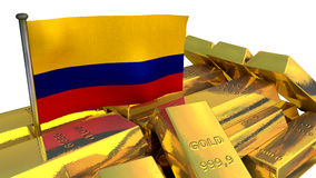 Colombian economy concept with gold bullion Royalty Free Stock Photography