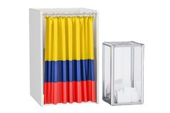 Colombian election concept, ballot box and voting booths   Stock Photos