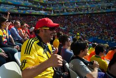 Colombian fan at the 2014 FIFA World Cup Royalty Free Stock Image