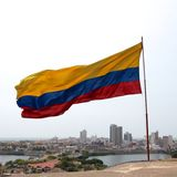 Colombian Flag over Cartagena Stock Images