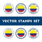 Colombian flag rubber stamps set. Stock Images