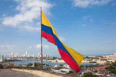 Colombian flag at San Felipe Castle. Waving over Cartagena de Indias Royalty Free Stock Image