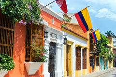 Colombian Flags and Colonial Buildings Royalty Free Stock Images