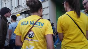 Colombian funs with sign on T-shirt stock video footage