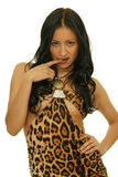 Colombian girl. Picture of beautiful colombian girl with leopard print dress on white background Stock Images