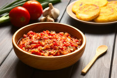 Colombian Hogao Sauce. Colombian hogao or criollo sauce (salsa criolla) made of cooked onion and tomato, served as accompaniment to traditional dishes, with Royalty Free Stock Photos