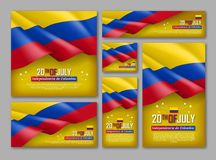 Colombian Independence day celebration posters set. 20th of July felicitation greeting vector illustration. Realistic backgrounds with colombian flag. Colombia stock illustration