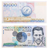 Colombian money. 20000 colombian pesos over white background. Both sides Royalty Free Stock Photography