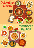 Colombian and moroccan cuisine icon set design. Colombian and moroccan cuisine icon set. Seafood and meat stew with bean, chicken soup, tomato onion sauce Royalty Free Stock Image
