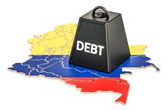 Colombian national debt or budget deficit, financial crisis conc. Ept, 3D Royalty Free Stock Photos