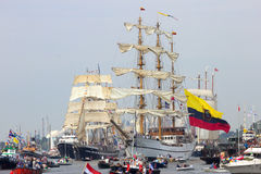 Colombian navy tallship ARC Gloria. AMSTERDAM, THE NETHERLANDS - AUGUST 19, 2015: Colombian navy tallship ARC Gloria in the North Sea Canal enroute to Amsterdam Royalty Free Stock Photography