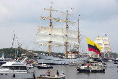 Colombian navy tallship ARC Gloria. AMSTERDAM, THE NETHERLANDS - AUGUST 19, 2015: Colombian navy tallship ARC Gloria in the North Sea Canal enroute to Amsterdam Royalty Free Stock Image